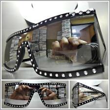 6e6ec3b7b99 Classic Vintage Retro Style SUNGLASSES Bling Rectangular Black Frame Chrome  Lens