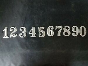 """Metal Numbers Telephone Pole 1 1/2"""" Silver Aluminum Numbers Craft Steampunk RARE"""