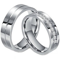 Couple's Matching Ring His or Hers Stainless Steel Comfort Fit Wedding Band