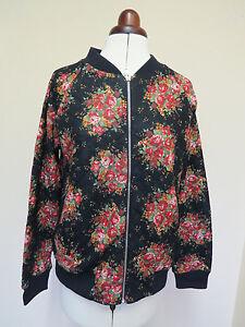 Boden Sophia Bomber Jacket- Black With Floral Pattern- Size 12 *LAST 1* REDUCED!