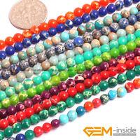 "4mm Colorful Sea Sediment Jasper Gemstone Round Beads For Jewelry Making 15"""
