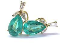 18Kt Pear Shape NATURAL Colombian Green Emerald & Diamond YG Earrings 6.74Ct
