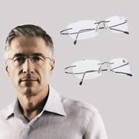 Ultralight Titanium Rimless Rectangular Reading Glasses Spectacles Eyeglass UK!!