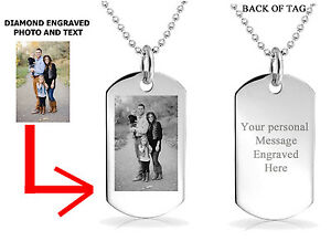 PERSONALIZED CUSTOM PHOTO DOG TAG ENGRAVED JEWELRY NECKLACE PENDANT CHAIN GIFT