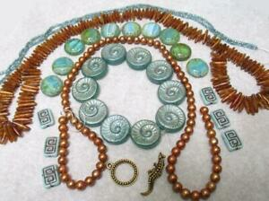 Czech Fossil Disks, PEARLS, Greek Key, Mayan Sun and golden Coral