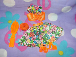 Mattel Barbie Fashion Outfit Orange Neon Floral Crop To and Skirt Platform Shoes