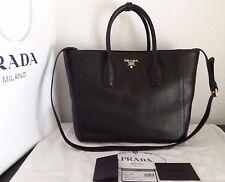 Authentic New Black Prada Vitello Daino Shopping Leather Bag w/Copy of Receipt