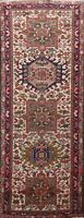 Antique Geometric Heriz Hand-knotted Runner Rug IVORY Oriental Tribal 2x6 Carpet