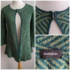 Marchesin Silk Extra Fine Merino Wool Blend Cardigan Size 10/12 Green Knit