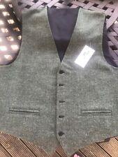 Mens Green Tweed Waistcoat Size 50 Made In Scotland