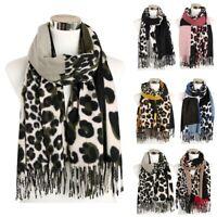 Women Ladies Cashmere Warm Leopard Print Tassel Soft Scarf Scarves Shawl Wrap US