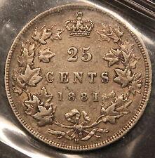 1881-H Canada Silver 25 Cents VF-30 ICCS certified VF-EF Quen Victoria Quarter