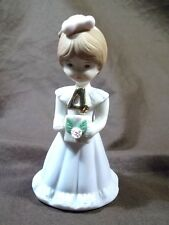 Enesco Growing Up Birthday Girl Age 4 Four Brunette Vintage Figurine 1982