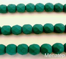 25 6mm Czech Glass Firepolish Beads: Neon - Emerald