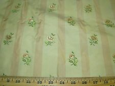 "~BTY~100% SILK~""AVIGNON"" FLOWERS~EMBROIDERED~UPHOLSTERY FABRIC FOR LESS~"