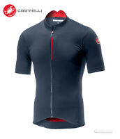 NEW Castelli 2019 ESPRESSO Short Sleeve Cycling Jersey : DARK STEEL BLUE/RED