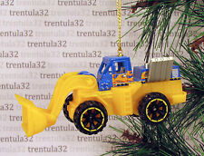 FRONT END LOADER Construction CHRISTMAS TREE ORNAMENT Blue/Yellow/FLAMES XMAS