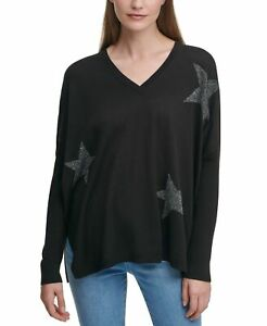 DKNY Women's Sweater Black Size Medium M Star-Print Drop-Shoulder $79 #316