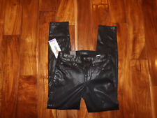 NWT Womens LEVEL 99 Black Mid Rise Coated Skinny Jeans Pants Size 10 / 30