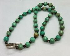 """Vintage Real Green Turquoise 20"""" Clasp Necklace"""