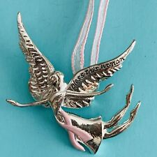 Bless This Woman Brooch Pin Pendant Graceful Angel Breast Cancer Pink Ribbon