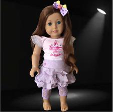 "GENUINE AMERICAN GIRL DOLL SKIRT & TOP to fit 18"" AG Doll + pretty BOW & leggins"
