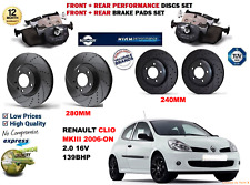 Para Clio III 2.0 16 V 06-09 Discos de freno delanteras y traseras de rendimiento Set + Kit de almohadillas