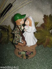 Kissing Military Wedding Camo Deer Gun Hunter Hunting Cake Topper on Base