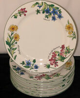 "8 Oneida MAJESTICWARE *GERANIUM*FLOWERS *10 3/4"" DINNER PLATES*"