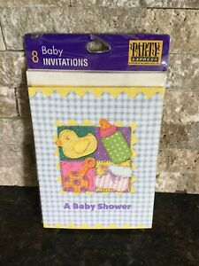Invitations Baby Shower 8 Pack Party Express Baby Bottle, Ducks Rattle Bootie