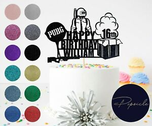Personalised Birthday PUBG HAPPY BIRTHDAY Gamer Glitter Cake Topper
