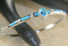 Silver Elegant Blue Fire Opal & Blue Topaz Bracelet Cuff