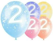 """5 12"""" Latex Balloons - Age 2 2nd Birthday Assorted Colour"""