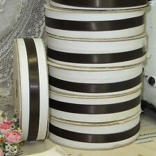 "SPECIAL 20y SPOOL 3/8"" BROWN SEAL DBL FACE SATIN RIBBON DOLL DRESS ROCOCO BOW"