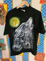 Wolf All Over Print The Roxx Single Stitch Animal Black Shirt Vintage 90s L