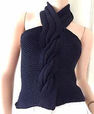 GIORGIO ARMANI Navy Cachemire laine soie côtelée dos nu (vente au détail £ 1,500)