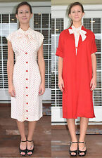 Vintage 50's Junior Flair Red Polka Dot Wiggle Dress & Coat Set Outfit - XS/S