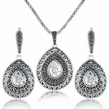 Retro Black Marcasite Jewelry Set Pendant Necklace Earrings Women Gift CN206