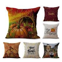 Cotton Linen Pillow Sofa Case Waist Throw Cushion Cover Thanksgiving Home Decors