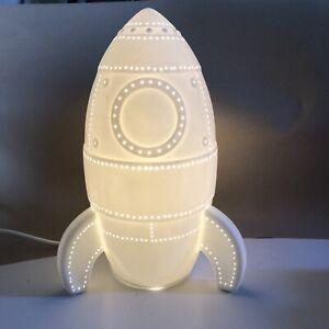Kids Rocket Night Light White Ceramic Bedside Table Lamp Children's Bedroom
