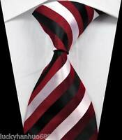 New Classic Stripes Red Black White JACQUARD WOVEN 100% Silk Men's Tie Necktie