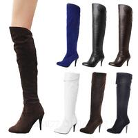 Womens Plus size High Heels Stiletto Heel pumps VANCY thigh length Boots 14-1