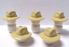 Lego 5 Tan Fedora Hat For Minifigure Cowboy Sheriff Western Soldier