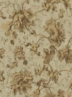 Wallpaper Designer Bronzed Gold Floral & Leaf Vine on Olive Green Faux