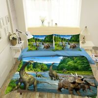 3D Dinosaur Green Forest River KEP852 Bed Pillowcases Quilt Duvet Cover Kay