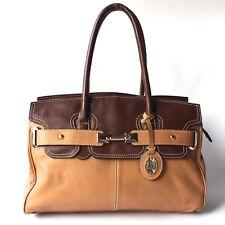 JANE SHILTON Shoulder Handbag Brown & Tan Leather Zip Close Inner Divider Large