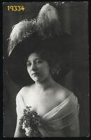 girl in strange hat, transparent veil by Meteor, rare,  Vintage Photograph, 1911