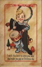Happy Boy w/ His Christmas Stocking - Toy Gun c1910 Postcard