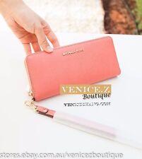 Michael Kors Leather Travel Wallet Clutch Purse Wristlet Pink Grapefurit