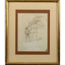 Original Signed Framed Art Deco Aviation Pencil Sketch One Good Turn Helen Mckie
